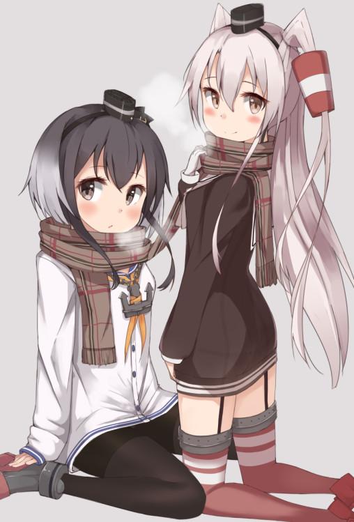 kantai collection amatsukaze tokitsukaze black pantyhose 2girls anime legs kneesocks garter straps