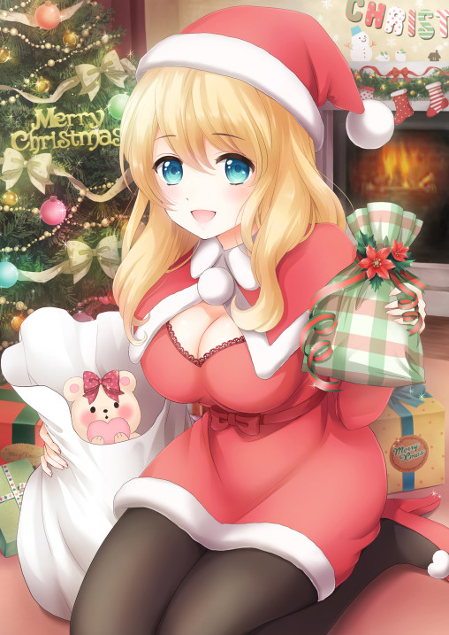 anime-pantyhose-santa-uniform-legs-black-tights-nylon-blonde-christmas-costume