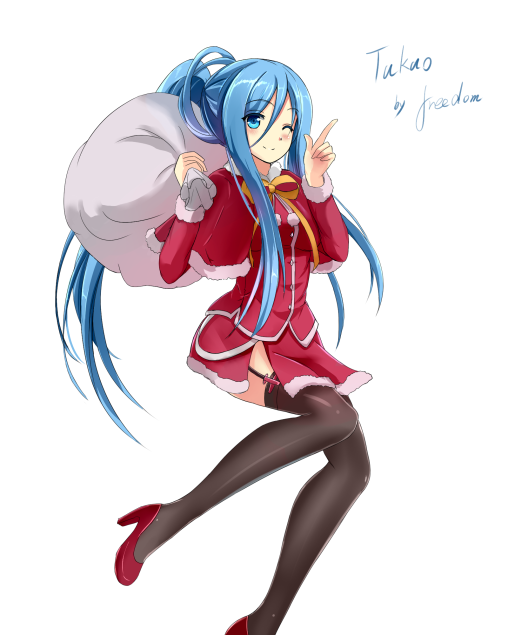 aoki-hagane-no-arpeggio-takao-stockings-legs-anime-girl-nylon-santa-costume-garter-straps-high-heels