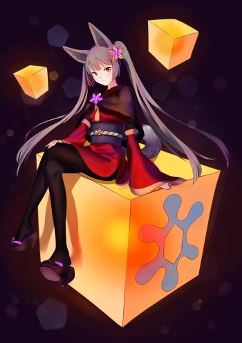 pixiv fantasia pantyhose kimono anime fox girl feet nylon crossed legs tights twintails