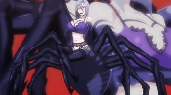 Monster Musume no Iru Nichijou Rachnera Arachnera stockings anime spider girl monster lingerie garter belt big boobs