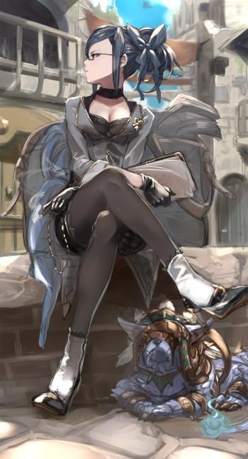 granblue fantasy priest producer stockings nylon anime pantyhose girl black tights crossed legs