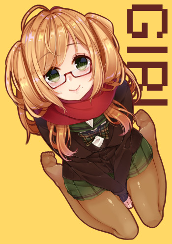 anime nylon feet stockings black tights pantyhose hosiery anime manga art glasses blonde