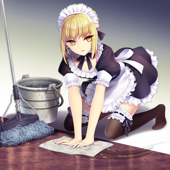 fate stay night saber maid girl stockings nylon legs blonde meido