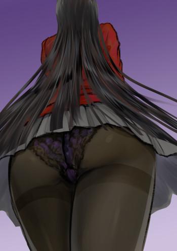 kakegurui jabami yumeko ass black tights anime pantyhose stockings girl panties upskirt ecchi nylon legs