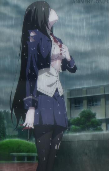 Busou Shoujo Machiavellianism Amou Kirukiru black tights anime pale skin girl nylon pantyhose boobs tits