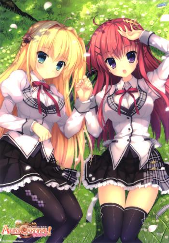 alias carnival sakuraouji tsukuyomi ousaka asuha pantyhose anime black stockings tights nylon legs schoolgirls 2girls