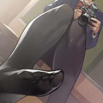 anime feet nylon black stockings pantyhose ties toes foot fetish anime hosiery girl