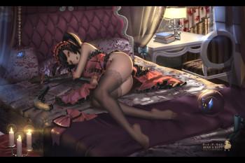 date a live tokisaki kurumi in black stockings feet nylon legs ass lingerie manga art